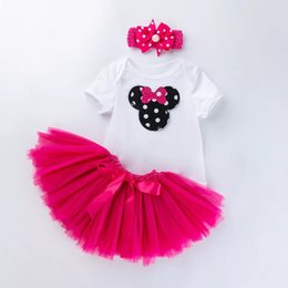 short hair styles girl NZ - Summer baby 0-2 years old clothing short sleeve cartoon infant little girl birthday party toddler jumpsuits tutu bow hair band 3 piece set