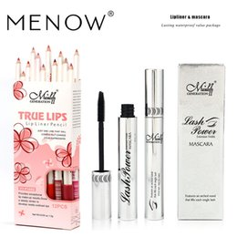 Venta al por mayor de Marca MENOW Set de maquillaje Lip LinerMascara Lastlin Lipliner y rímel grueso impermeable Cosmetic Natural drop ship 5321