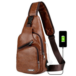 British Bags Wholesale Australia - New men's shoulder Messenger bag casual fashion British style soft PU material with USB interface multi-function large capacity