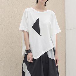 $enCountryForm.capitalKeyWord Australia - New 2019 Korean Style Women Plus Size White Tee Top Irregular T-shirt With Black Patches Stitched Ladies Oversized Tshirt F1050