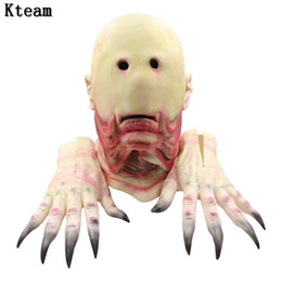 $enCountryForm.capitalKeyWord Australia - Halloween Party Creepy Vinyl UFO Face Mask Alien Head Mask Cosplay Party scary halloween mask with gloves Supplies Fancy dress up
