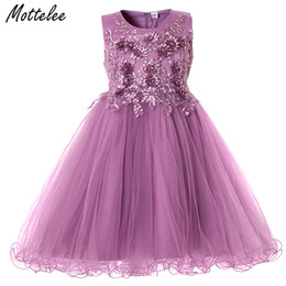 Wedding frocks yelloW online shopping - Mottelee Flower Girls Dress Wedding Party Dresses for Kids Pearls Formal Ball Gown Evening Baby Outfits Tulle Girl Frocks T191006