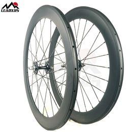 Fixed Gear Track Australia - LEADXUS Full Carbon Fiber 60MM Clincher Tubular Roue Velo Fixie Bicycle Wheel Fixed Gear 700C Carbon Track Bike Wheels