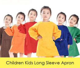 Aprons long online shopping - Children Kids Long Sleeve Apron Drawing Painting Waterproof Smock for Practice Brushwork Painting Apron Solid Color
