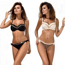 $enCountryForm.capitalKeyWord Australia - Push Up Bikinis Women Swimsuit Solid Bordered Low Waist Swimwear Female 2019 Sling Backless Bathing Suit Sexy Beach Wear Biquini