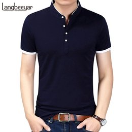 c7ad5d71 Summer New Fashion Brand Clothing Tshirt Solid Color Slim Fit Short Sleeve  T Shirt Men Mandarin Collar Casual T-shirts Q190516