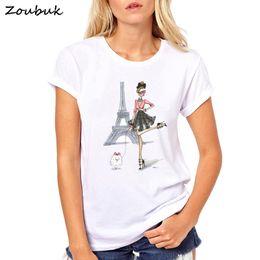 4a363b885f7832 5 Foto Le t-shirt fredde della ragazza online-Vintage Vogue Paris Stampa Ragazza  T Shirt