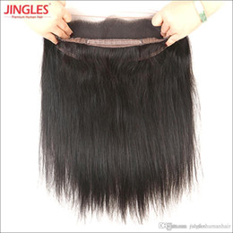 Discount virgin hair dhl - 100% Unprocessed Raw Indian Virgin Human Remy Hair 360 Lace Frontal Straight weave with healthy baby hair natural black
