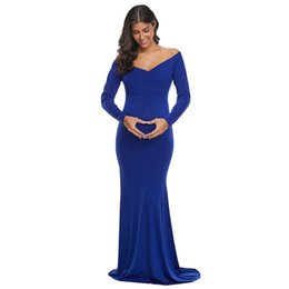 Ball recycle online shopping - Maternity Dress Recycled Fiber Solid Color Long Sleeve Sweet Slim Fit V neck Shoulder Mopping Fishtail Skirt
