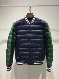 $enCountryForm.capitalKeyWord NZ - French fashion brand light Thin man white duck down jacket Stitching color baseball uniform Men's Down coats