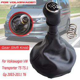 shifter boot 2019 - Car Manual 5 6 Speed Gear Shift Lever Knob Shifter With Leather Gaiter Boots Fit For VW Transporter T5 T5.1 Gp T6 cheap