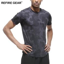 Neck Gear Australia - Refire Gear Summer Outdoor Sports T-shirt Men Short Sleeves Crossfits Running Bodybuilding Shirts O-neck Clothing Tee Tops Male