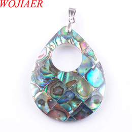 abalone necklaces wholesale NZ - WOJIAER New Zelanian Abalone Shell Pearl Teardrop Gem Stone Pendants & Necklaces bead Women Girls Jewelry DN3374
