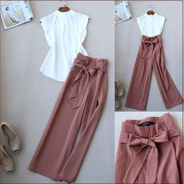 Chiffon Pants Set Australia - Fashionable Ol Women Stand Collar Chiffon Top And Wide Leg Pants Office Wear Clothing Set Summer Set Y19062201