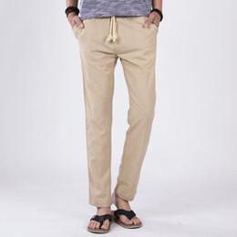 $enCountryForm.capitalKeyWord Australia - 2019 Spring Summer Casual Pants Men Slim Fit Chinos Fashion Trousers Slim Strandhosen Linen Hose Pant Solid Trousers