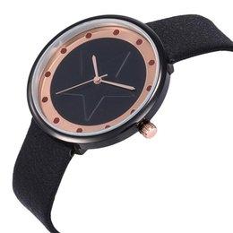$enCountryForm.capitalKeyWord Australia - 2019 Color Block Embossed Star Round Dial Faux Leather Band Women Quartz Wrist Watch