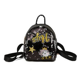 Cartoon Champagne NZ - good quality Cartoon Sequined Children's Backpack Cute Letter Little Star Princess Mochila School Book Bags Kid Girls Travel Backpacks