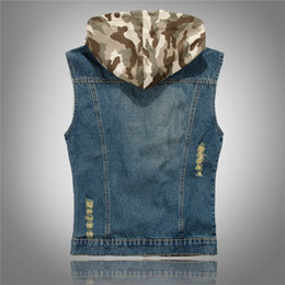 boys slim denim jacket Canada - 2020 Spring Brand Hot Sale Slim Fit Hooded Camouflage Hole Male Denim Vests Male Cow Boy Sleeveless Jackets Waistcoat Zipper