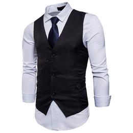 fashion gilet mens 2019 - Brand Mens Wedding Formal Suit Vest 2019 Fashion New Single Breasted Slim Fit Sleeveless Waistcoat Men Gilet Homme Costu