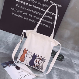 Art Canvas Prints Australia - Double Use Girls Cross Body Canvas Bag Cartoon Cats Poster Collage Art Printing Tote Bag Durable Super Capacity Quality Handbag