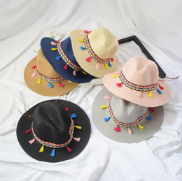 8727541f446b0 Lady Wide Brim Hat With Colorful Tassels Summer Women Straw Hat Ethnic  Style Beach Hat Outdoor Sun Protection Panama Hats