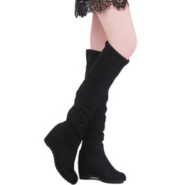 China New Style Autumn Winter Ladies Fashion Flat Bottom Boots Shoes Women Boots Over The Knee Thigh High Suede Long cheap fashion style long boots suppliers