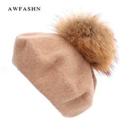 70ac773110c 2018 New Ladies Elegant Raccoon Fur Pompoms Beret High Quality Winter Woman  Painter Bonnet Hats Slouchy Beanie Cap Vintage Red