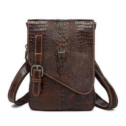 Genuine Cowhide Shoulder Leather Bags UK - Handbag Designer Genuine alligator crazy cowhide Leather male Messenger Business Men Shoulder crossbody bag