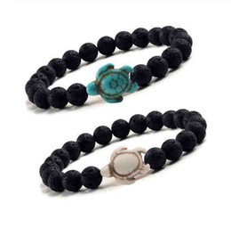 TurTles beads online shopping - 8mm Black Lava stone turquoise Bead Sea Turtle bracelet Essential Oil Diffuser Bracelet For Women men Jewelry