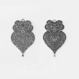 $enCountryForm.capitalKeyWord UK - 12PCS Antique Silver Large Hollow Filigree Flower Viana Heart Charms Pendants for Necklace Making Jewelry Findings 58x37mm