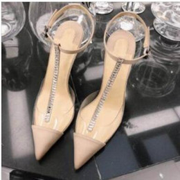 transparent wedding sandals NZ - hot Classic designer's new sexy high heel sandals crystal t with transparent back high quality women's party wedding shoes #15