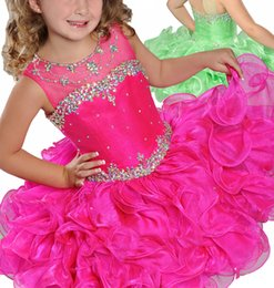 Cupcake Making Australia - Luxury Beads Crystal Ruffles Tutu Ball Gowns Toddler Girls Pageant Cupcake Dresses 2019 Custom Made Baby Bithday Party Jeweled Gowns