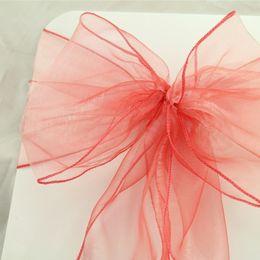$enCountryForm.capitalKeyWord Australia - 50pcs 18x275cm Dark Coral Wedding Organza Chair Cover Sashes Bow Sash Wedding Banquet Party Decoration Free Shipping J190706