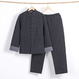 Boy Chinese Suit Australia - 2 piece suit ancient chinese costume art uniform chinese style outfit boy suit cotton boy hanfu 2019 boy chinese clothing