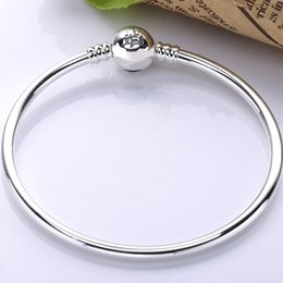 $enCountryForm.capitalKeyWord Australia - 925 Sterling Silver Bangle Wonderful World Park Castlel Clasp Smooth Bracelet Bangle Fit Bead Charm DIY Europe Jewelry