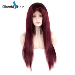 $enCountryForm.capitalKeyWord UK - Silanda Hair Nice Fashion Burgundy Silky Straight Brazilian Remy Lace Front Full Lace Human Hair Wigs For Women Free Shipping