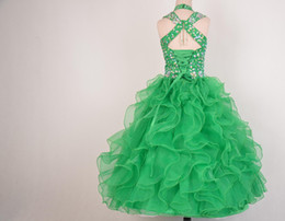 $enCountryForm.capitalKeyWord Australia - Ritzee Girls 2019 Beads Halter Girls Pageant Dresses Little Girl Ball Gown Big Kids Full Length Cap Sleeve Custom Made Girls Party Gowns
