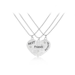 "$enCountryForm.capitalKeyWord UK - 3PCS Pair ""Best Friends Forever"" Kids Necklaces Broken Heart Pendant Kids Necklace For Children Friendship BFF Jewelry"