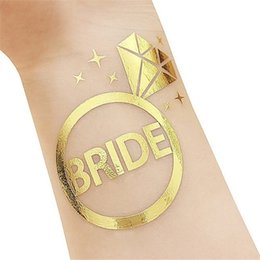 $enCountryForm.capitalKeyWord UK - 10Pcs lot Flash Bride Tribe Temporary Tattoo Sticker Bachelor Party Bridesmaid Wedding Party Body Art Glitter Tattoo Decals Y4