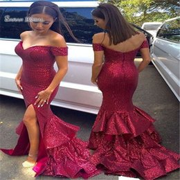 $enCountryForm.capitalKeyWord Canada - 2019 Off Shoulder Sequined Sweep Split Mermaid Prom Dresses Sleeveless High End Quality Evening Party Dress Hot Sales