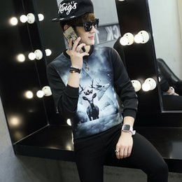 Discount galaxy jumpers - Men Autumn Winter Hoodies Hot New Fashion Male Casual Galaxy 3D Animal Print Sweatshirt Pullover Tops Tracksuit Jumper M