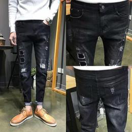 $enCountryForm.capitalKeyWord Australia - Wholesale 2019 streetwear Jeans autumn winter stretch feet pants men pants Japanese youth ripped hole patch pencil jeans hombre