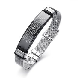 $enCountryForm.capitalKeyWord Canada - 12MM Mens Stainless Steel Mesh Cable Bible Loads Prayer Wrist Band Bracelet Buckle Clasp For Women