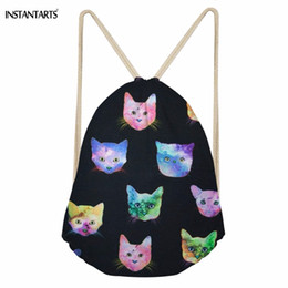 Kawaii bacKpacKs online shopping - INSTANTARTS Kawaii Space Cat Kitten Pattern Girl Boys Drawstring Bags Softback Large Sack Bags for Teenagers Students Backpacks