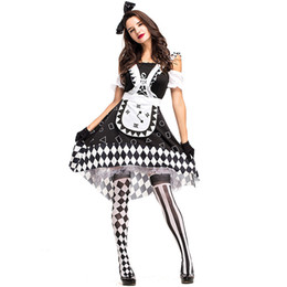 Luxury Women Halloween Christmas Cosplay Dress Bianco e nero Griglia Tutu Orologio Stage Performance Outfit Circo Clown Clothings