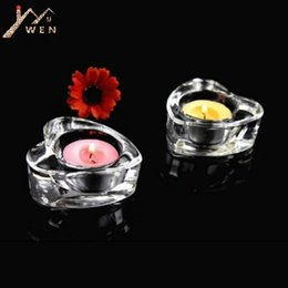 heart decoration candle UK - Heart-shaped tealight candle holders glass Tea Light Candlestick for wedding table centerpieces decor home 6 pcs   lot
