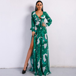 $enCountryForm.capitalKeyWord Australia - 2019 Summer Deep V Two Split Print Beach Dress Kafftan Long Sleeve Ruffle Seaside Maxi Dress Ft9106