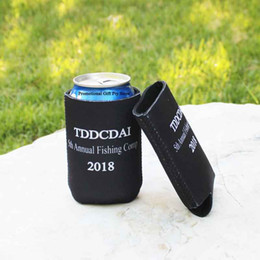$enCountryForm.capitalKeyWord Australia - 100pcs Printing Logo Foldable Neoprene Can Cooler Drink Sleeve Beer Can Cooler Wedding Gift Customize Promotional Stubby Holders
