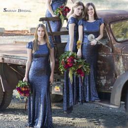 $enCountryForm.capitalKeyWord NZ - 2019 Sequined Cap Sleeves Navy Blue Bridesmaid Dresses Sheath Jewel Wedding Party Dress Vestidos De Novia