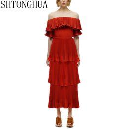 $enCountryForm.capitalKeyWord UK - SHTONGHUA High Quality Sexy Ruffles Women Dress 2019 Self Portrait Beach Offer Shoulder Slash Neck Red Long Lady Party Dress